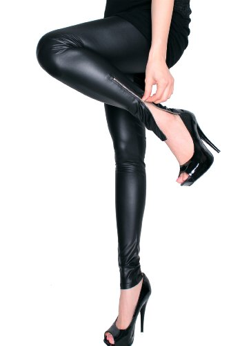LeggingsQueen Ankle Zip Faux Leather Leggings