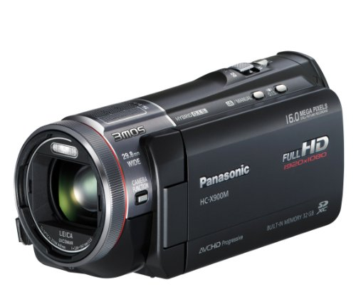 Panasonic X900M Full HD 1920 x 1080p (50p) 3D Ready Camcorder with Built-In Viewfinder - Black (3MOS Sensor, 23x Intelligent Zoom, 32GB Built-in Flash, SD Card Recording, Leica Dicomar Lens and Manual Control Ring) 3.5 inch LCD