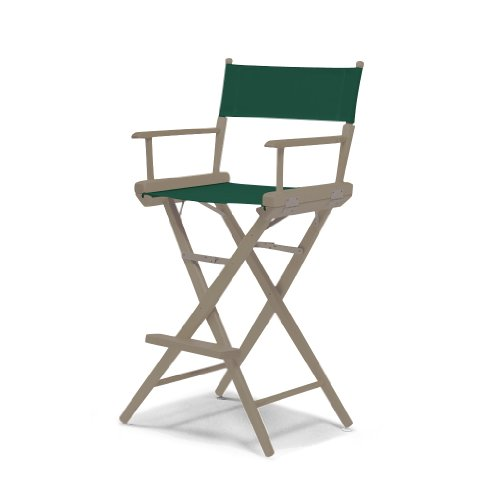 Telescope Casual World Famous Bar Height Director Chair, Rustic Grey with Forest Green Canvas Fabric