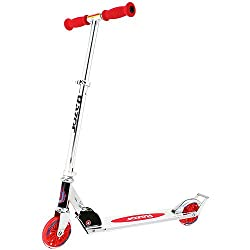 Razor A W125 Folding Aluminum Kick Kids Scooter w Wheelie Bar - Red 13014160