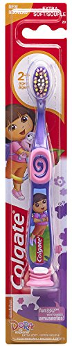 Colgate Kids Dora The Explorer Toothbrush with Suction Cup, Extra Soft (Pack of 6)