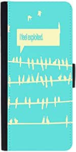 Snoogg Birds Feel Expoited 2912 Graphic Snap On Hard Back Leather + Pc Flip C...