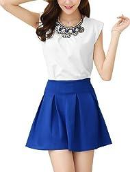 Women Round Neck Cap Sleeve Padded Shoulder Blouse w Zip Fly Skirt