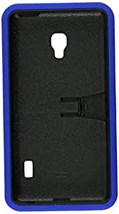 Eagle Cell Hybrid Skin Case with Stand for LG Optimus F6 - Retail Packaging - Blue Skin/Black Stand