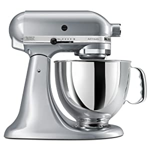 kitchenaid ksm150psmc artisan 5 quart stand mixer metallic chrome
