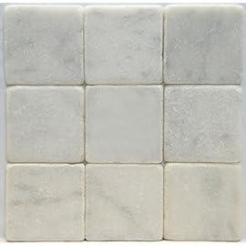 Bianco Carrara White 4 X 4 Tumbled Marble Tile