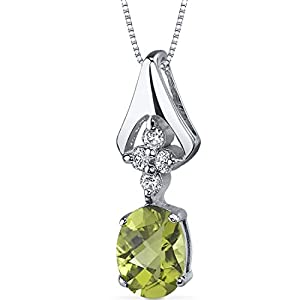 Ethereal Enchantment 1.25 carats Oval Shape Sterling Silver Rhodium Nickel Finish Peridot Pendant