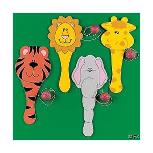12 Zoo Animal Shape Paddleball Games