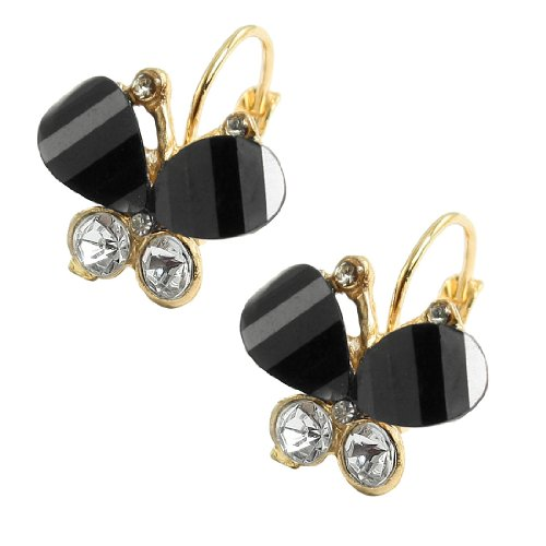 Rosallini Ladies Gold Tone Loop Rhinestone Accent Black Plastic Butterfly Pendant Clip Earrings Pair
