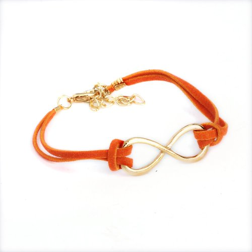 Imixlot Cute Decorate Eight Simple charm infinite infinity sign Orange Leather Bracelet For Fashion Women