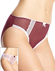 2 Pack Limited Collection Mesh High Leg Knickers