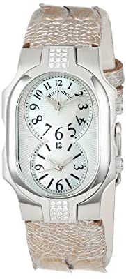 Philip Stein Women's 1SD-NFMOP-OCHP Stainless Steel Diamond-Accented Watch with Champagne Leather Band