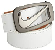 NIKE Golf Signature Swoosh Cutout II Belt (White, 34)
