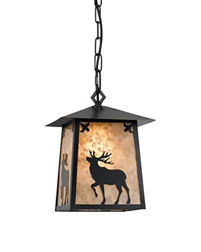 Cal Lighting Elk Mica Metal Pendant, Dark Bronze