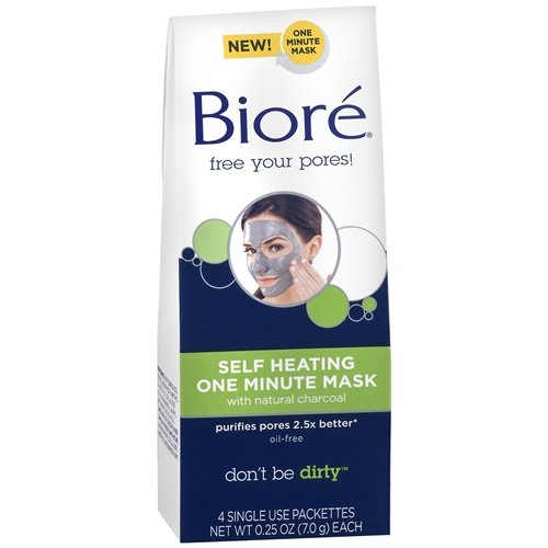 Biore Self Heating One Minute Mask ,With Natural Charcoal 4 Ea (Pack of 2)