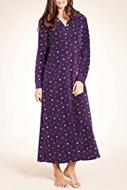 Spotted Long Fleece Hooded Nightdress [T37-1589-S]