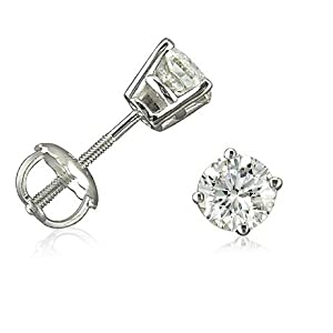 1/2ct tw IGI Certified Diamond Stud Earrings in 14K White Gold with IGI Gift Box by Amanda Rose Collection