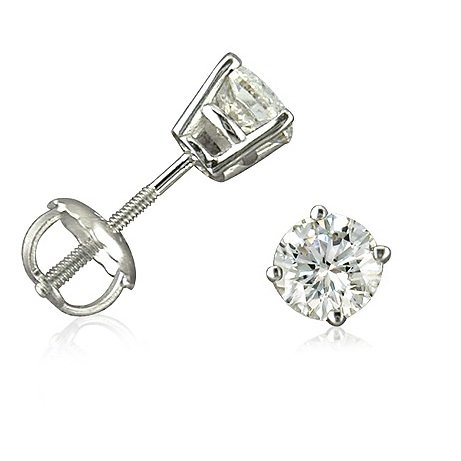 14K White Gold Round Screw-Back Diamond Stud Earrings (1/2cttw)