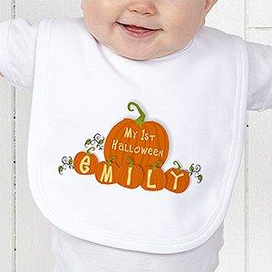 My First Halloween Personalized Pumpkin Baby Bib front-984775
