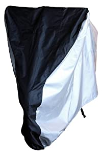 4MyCycle Bike Cover 210T (Extra Heavy Duty) Size Large - Bicycle Cover - Bike Storage Cover - Bike Cover - Bike Covers for Rain - Sport Bike Cover - Bicycle Cover Outdoor - Suits Adult Sized Mountain Road and Cruiser Bikes - Black & Silver