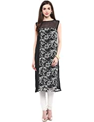 Awesome Fab Black Color Georgette Fabric Women's Straight Kurti