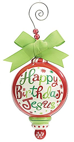 Happy Birthday Jesus Ceramic Holiday Christmas Ornament with Lime Green Bow & Beaded Wire Hanger