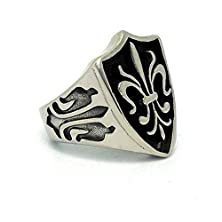 buy Mens Womens Stainless Steel Rings Retro Cross Black 22.6Mm Size 9 - Adisaer Jewelry
