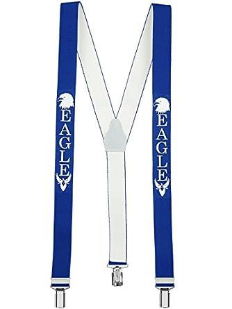 Bretelles de haute qualité avec 3 Clips fort de 35mm dans - Aigle / Veggie / I am the Boss Design - Fabriqué en Allemagne (Eagle - Bleu)