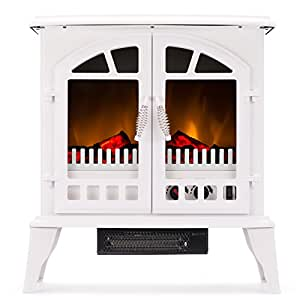 Jasper Free Standing Electric Fireplace Stove 25 Inch White Portable Electric