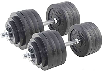 Pair Adjustable Cast Iron Dumbbells Weight 200 lb Kit Set Total Titan Fitness
