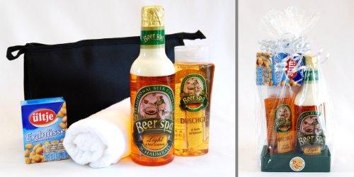 handverpacktes Weihnachtsgeschenke Set Feierabend mit Bierschaumbad und Bierduschgel sowie Waschtasche plus Handtuch