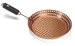 Outset QN77 Copper Colored Nonstick Grill Skillet with Removable Soft-Grip Handle