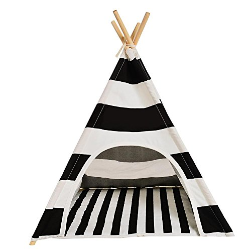 EnjoyBridal® Black White Small Animals Teepee Tents Bed for Pets(No Cushion)