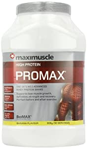 MaxiMuscle Promax 908 g Banana Whey Protein Shake Powder