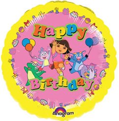 Printed Foil Balloon (18in, round) - Happy Birthday: Dora the Explorer(TM)