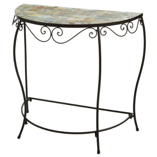 Cheap 33″ Tiled Mosaic Half Moon Console Accent Table (B004KZF542)