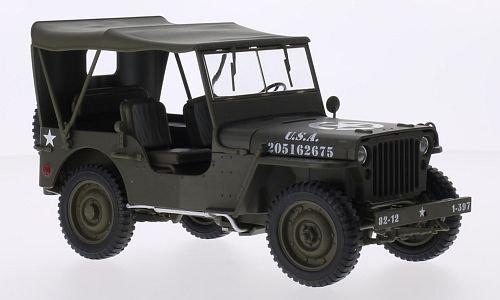 Jeep Willys, verde oliva opaco, U.S. Army, modello di automobile, modello prefabbricato, Welly 1:18 Modello esclusivamente Da Collezione