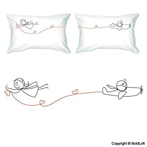 """BoldLoft """"Never Let Go"""" Couple Pillowcases-Cute Couple Gifts,Romantic Anniversary Gifts,Wedding Gifts for Couple,Valentine's Day Gifts,Cute Birthday Gifts,Gifts for Him,Gifts for Her"""