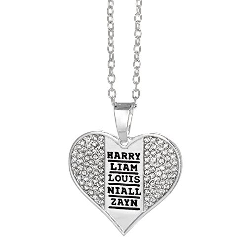 One Direction Name Stamp Crystal Heart Necklace (1 Direction Jewelry compare prices)