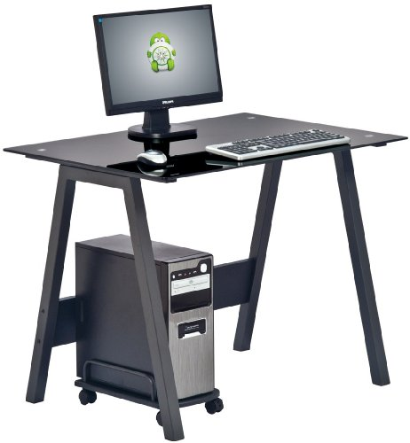 Piranha PC7bg Compact BLACK GLASS Computer Desk