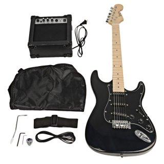 Moppi Wählen Sie ST Black Pickguard elektrische Gitarre schwarz mit Verstärker Bag Strap-Tool günstig