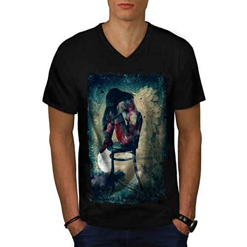 Angel Woman Wing Gothic Girl Men NEW Black M V-Neck T-shirt | Wellcoda (Alternative Perfect V Neck compare prices)