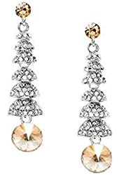 Light Smokey Topaz Crystal & Silver Chandelier Drop Earring - Light Brown Bridesmaid Prom Jewelry