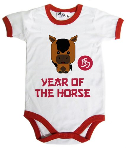 Df, Year Of The Horse, Chinese New Year 2014, Baby Bodysuit Trm, 3-6M, White Red Trm