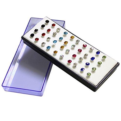 Set di 40 orecchini a perno placcati oro bianco con cristalli di 5mm multi colori 20 paia, 3 paia cristalli, 7 paia altri colori (I colori possono variare) di KurtzyTM