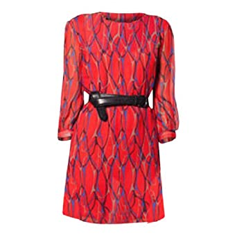Winter Kate NRD682 Dress in Red Veins Silk Crinkle Chiffon Size: Small
