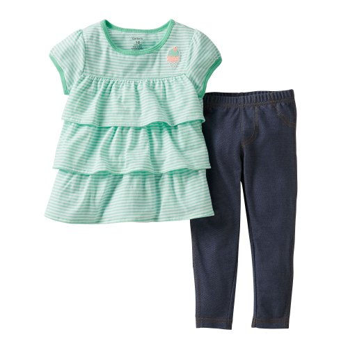 Carter'S 2-Piece Mint Ice Cream Tiered Short Sleeve Top & Jeggings (Newborn) front-345659
