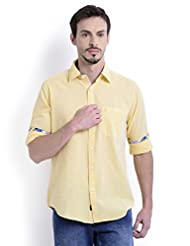 Sting Yellow Solid Slim Fit Full Sleeve Cotton Casual Shirt For Men