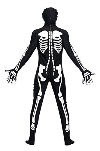 [NonEcho Men Bone Skeleton Second Skin Adult Costume] (Twisty The Clown Costume Mask)