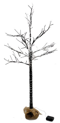 4 Ft Led Lighted Bare Branch Tree Dusted With Snow - 6 Hour Timer Function